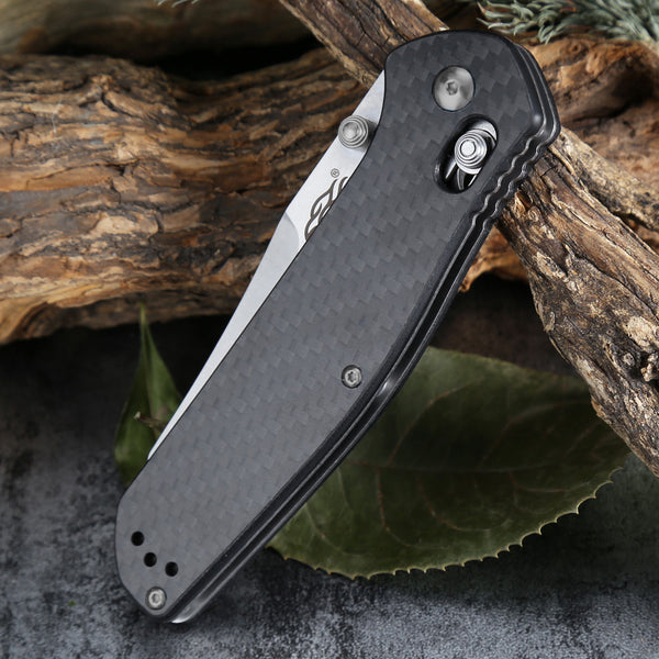 FIREBIRD Ganzo F7562-CF Stonewash 440C Carbon Fiber Scales Folding Knife