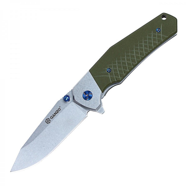 Ganzo G7492-GR 440C Stonewashed G10 Ball Bearing Pivot Flipper Knife