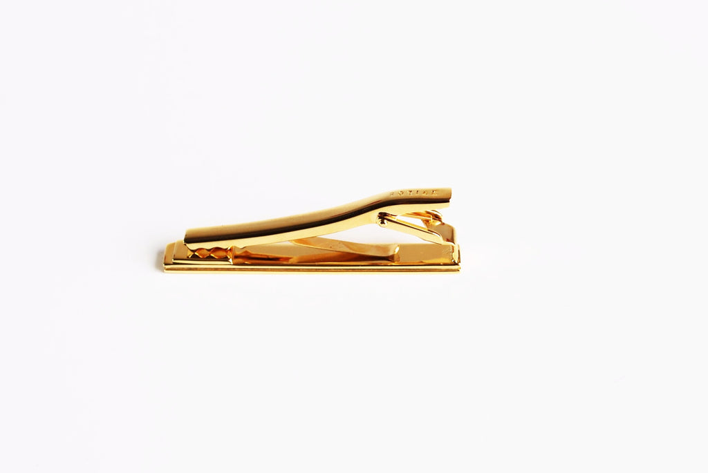 Gold Plated Royal Red Enamel Tie Bar Bottom
