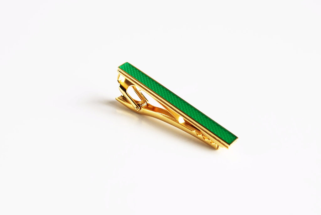 Gold Plated Green Enamel Tie Bar