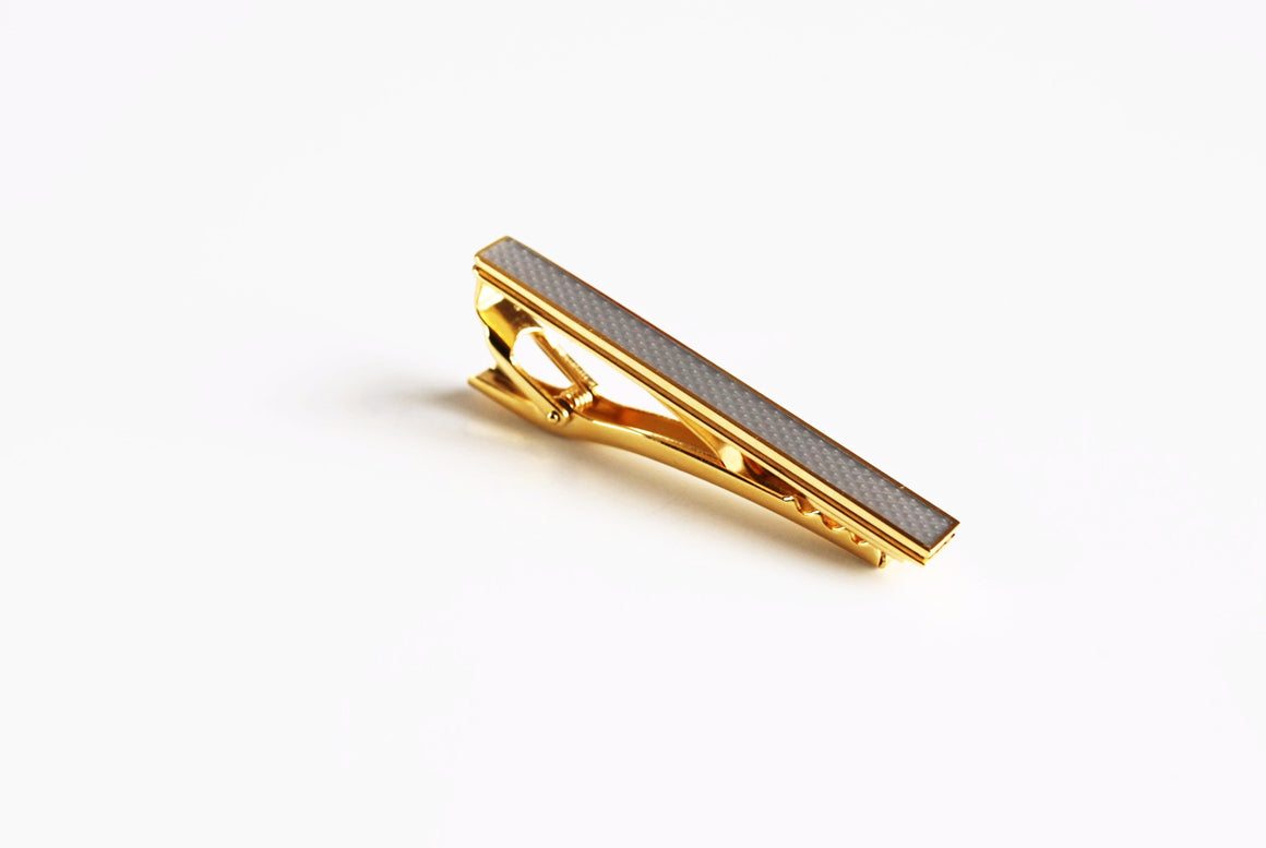Gold Plated Grey Enamel Tie Bar