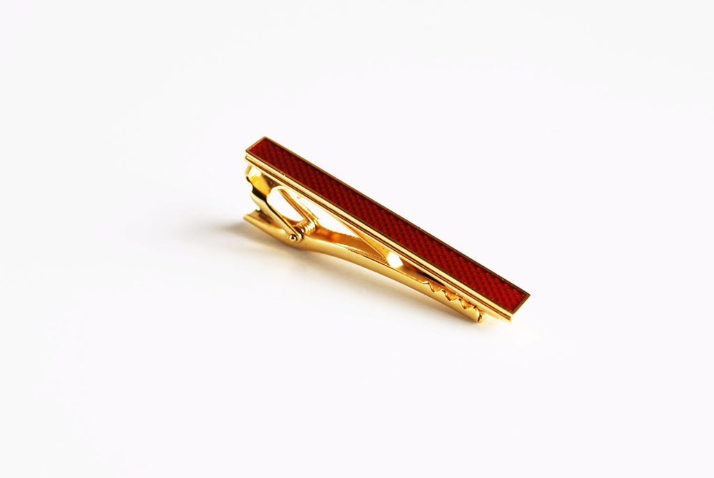 Gold Plated Royal Red Enamel Tie Bar