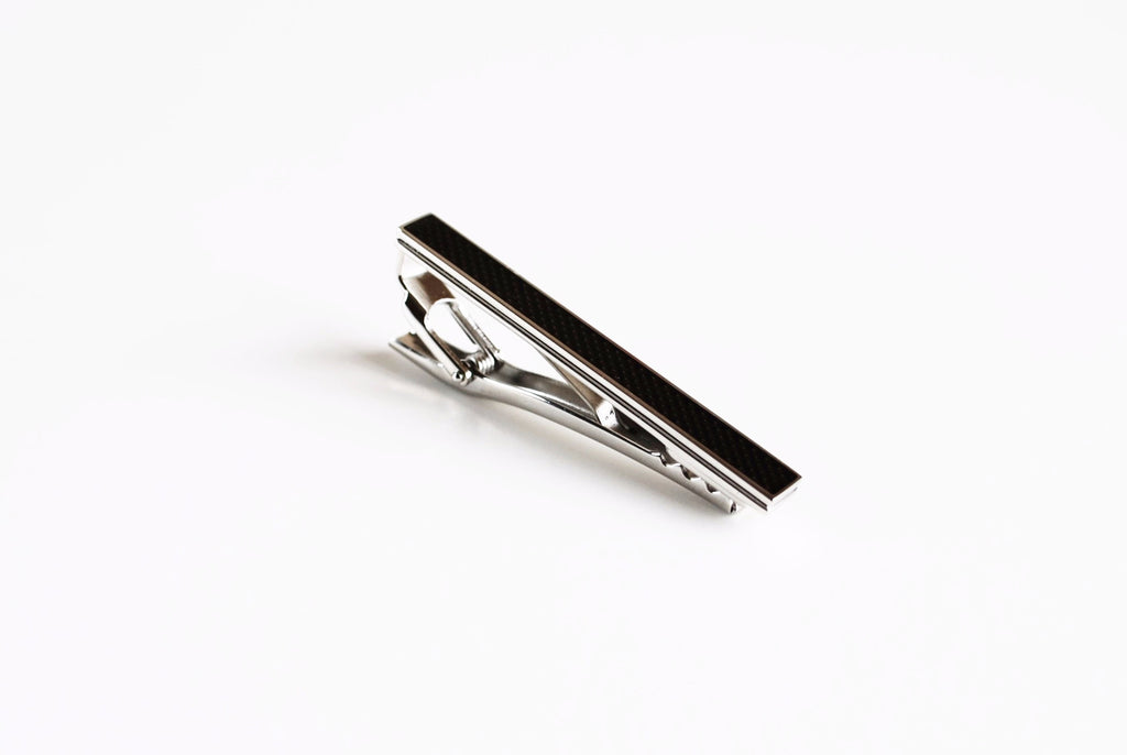 Rhodium Plated Dark Grey Enamel Tie Bar