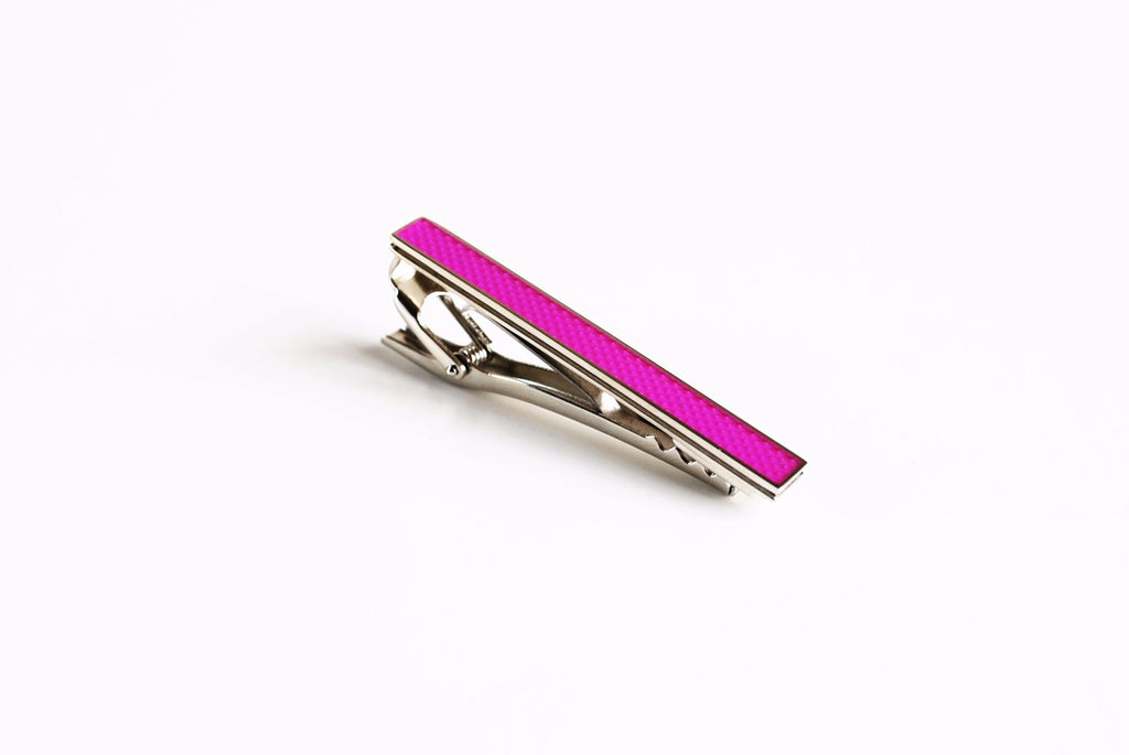 Rhodium Plated Purple Enamel Tie Bar