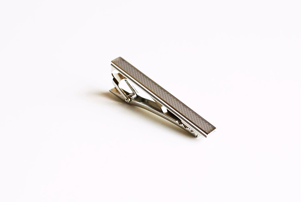 Rhodium Plated Grey Enamel Tie Bar