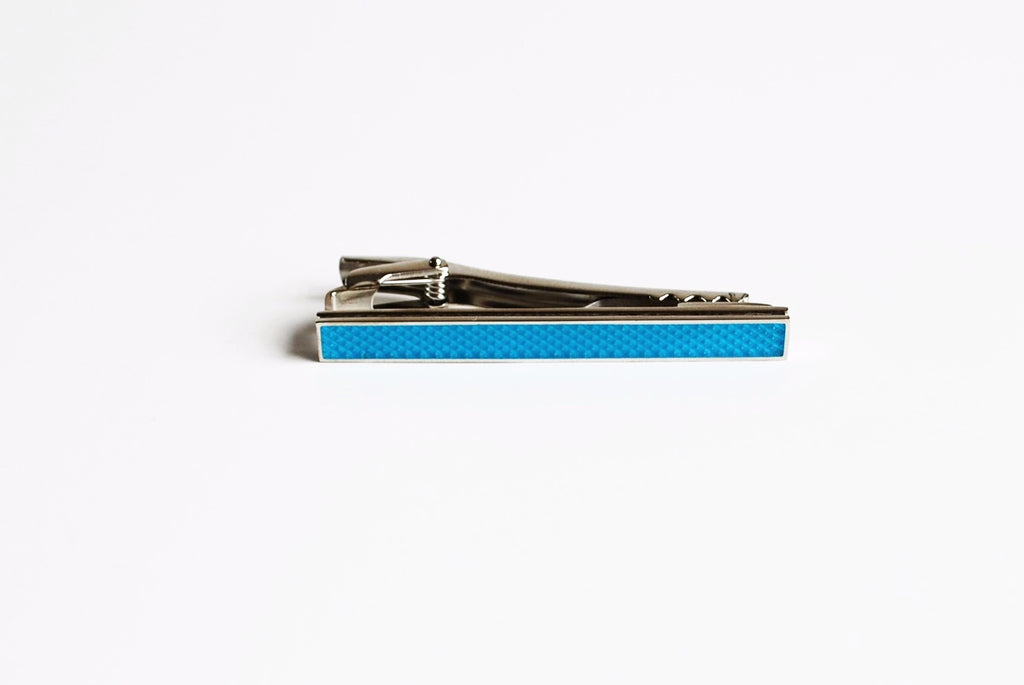 Rhodium Plated Teal Enamel Tie Bar Front