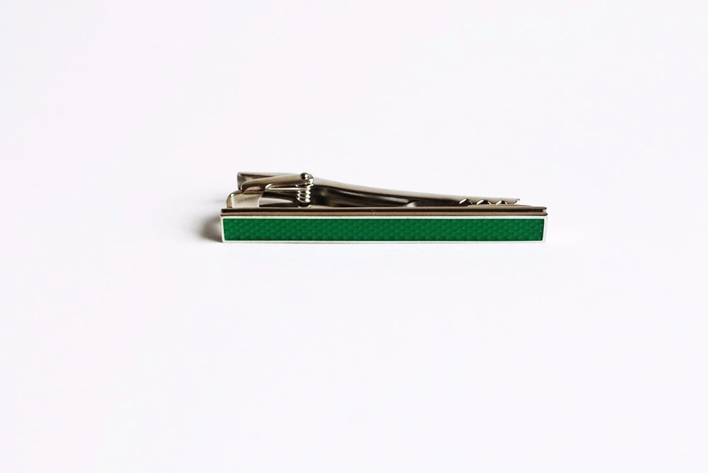 Rhodium Plated Green Enamel Tie Bar Front