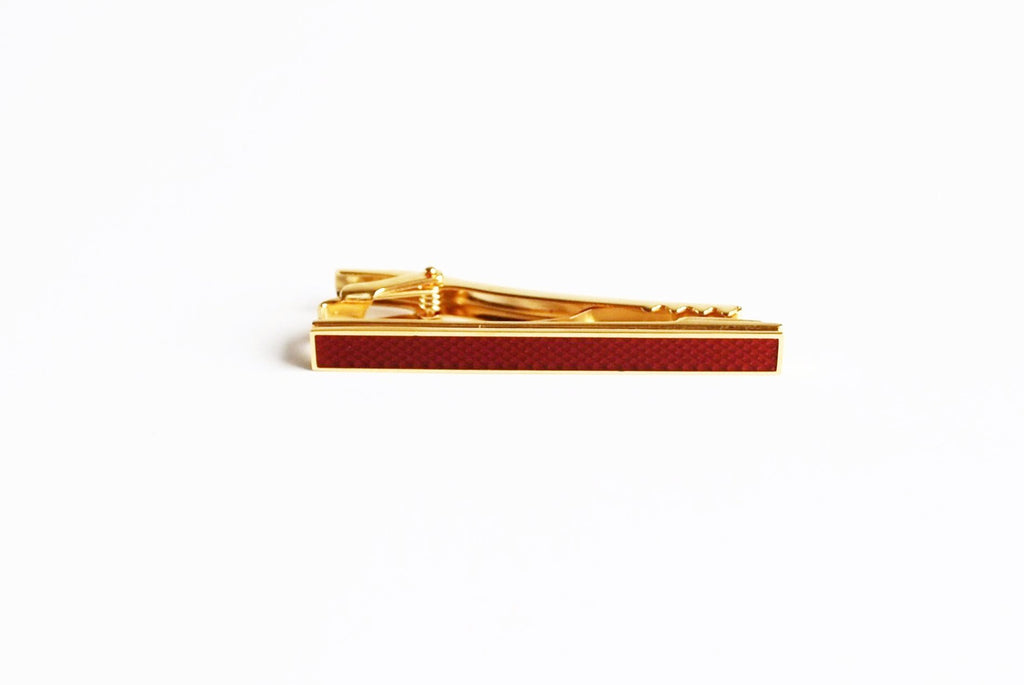 Gold Plated Royal Red Enamel Tie Bar Front