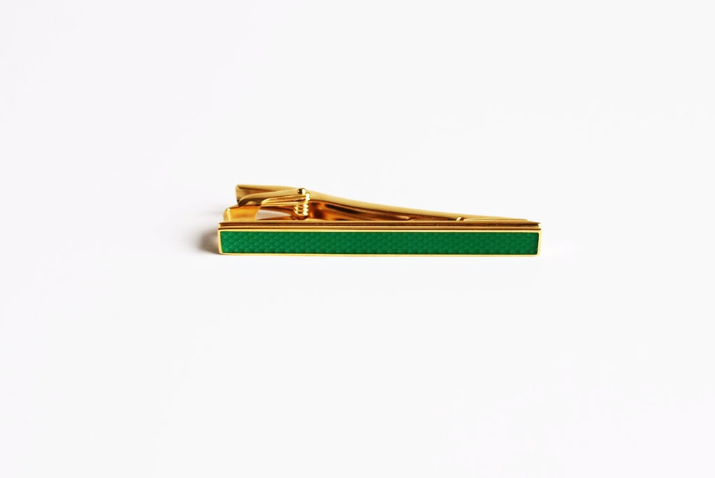 Gold Plated Green Enamel Tie Bar Front