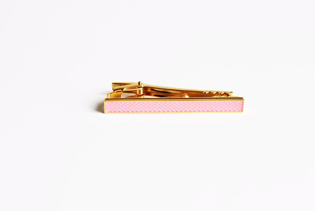 Gold Plated  Pink Enamel Tie Bar Front