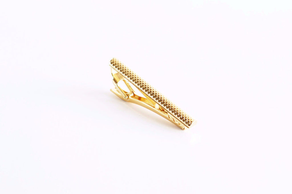 22K Gold Plated Textured Cylinder Tie Bar