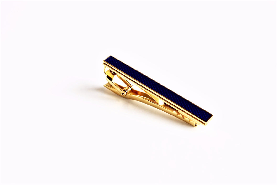 22K Gold Plated Navy Enamel Tie Bar