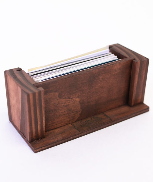 Wood Business Card Holder - Premium Pine with Acrylic Front - 70 Card Capacity - 2.4 x 4.5 Inches (Stain)