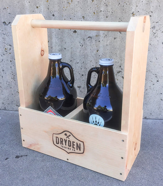 Classic Wood Double Growler Tote - Holds to 64oz Glass Bottles