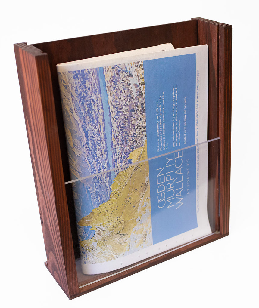 "Premium Wood Magazine Display/Brochure Holder - Pine with Acrylic Front - Handmade and Stained - 10.25"" x 12"""