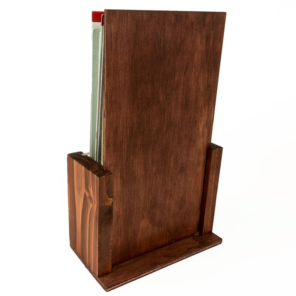 Premium Wood Brochure Holder - 4x9 Inch TriFold Stand (Stain)