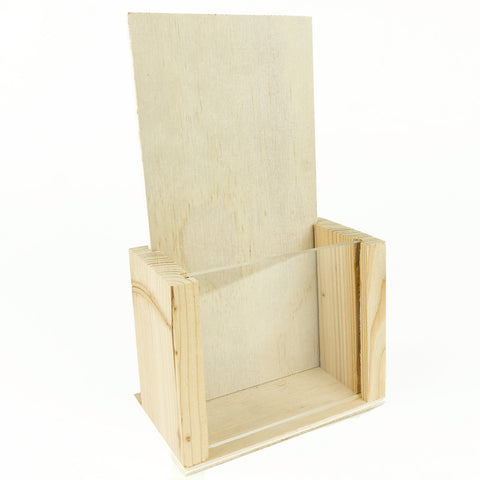 Premium Wood Brochure Holder - 4x9 Inch TriFold Stand (Pine)