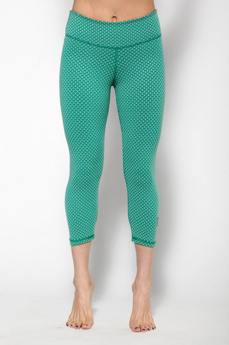 Honey Comb Reversible Capri-Leggings-coco on the go