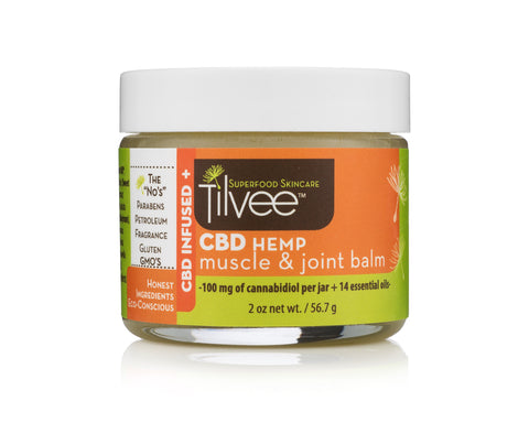 Hemp Muscle & Joint Balm. CBD for athletes. Use on knees, elbows, back, wrists, hands, feet and more.