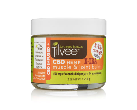 CBD Hemp X-TRA Strength Muscle & Joint Balm. CBD for athletes. Use on knees, elbows, back, wrists, hands, feet and more.