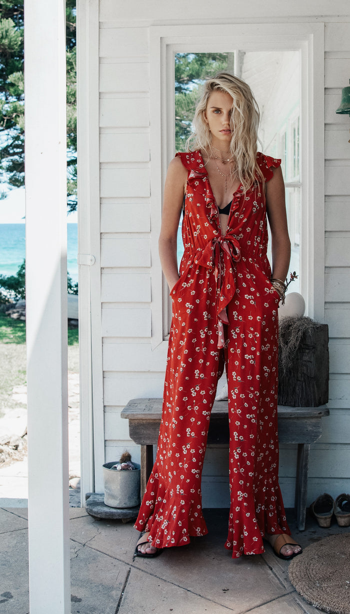 QUINN FLORAL JUMPSUIT - RED BABY FLORAL