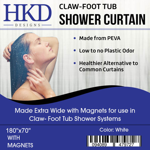 ... HKD Designs Clawfoot Tub Shower Curtain Extra Wide Low Odor 180x70  Inches White