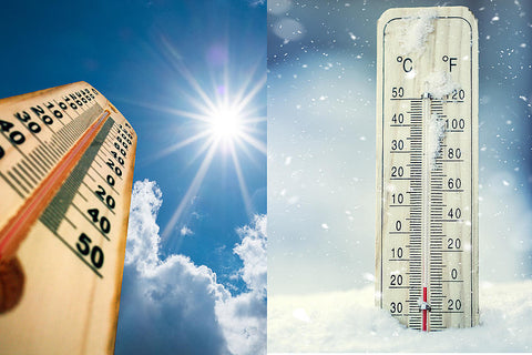 extreme temperature depicted by thermometer