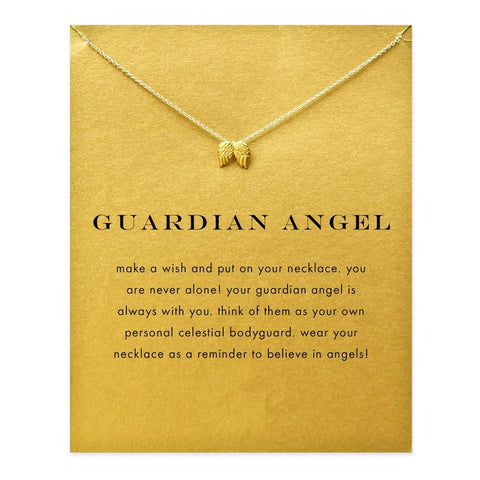 14K Gold Guardian Angel Wing Necklace