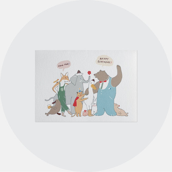 Animal Group Birthday Card <br> 動物團生日卡