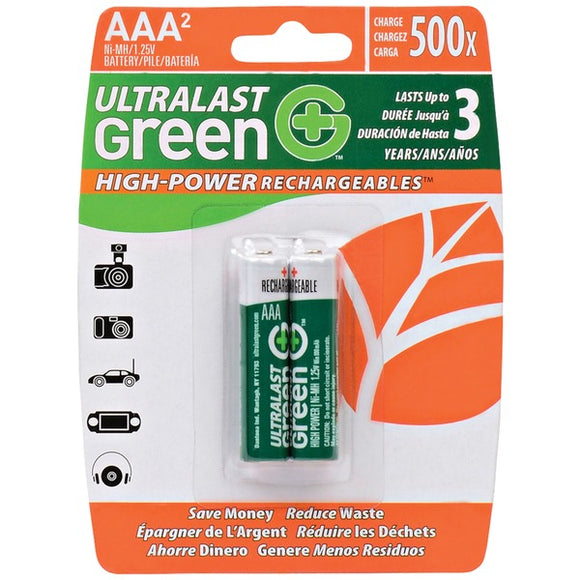 Ultralast ULGHP2AAA Green High-Power Rechargeables AAA NiMH Batteries, 2 pk