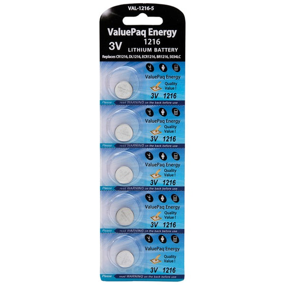 Dantona  VAL-1216-5 ValuePaq Energy 1216 Lithium Coin Cell Batteries, 5 pk