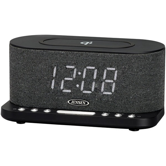 JENSEN QiCR-50 Dual Alarm Clock Radio with Wireless QI Charging