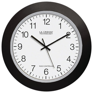 "LA CROSSE TECHNOLOGY WT-3129B 12"" Black Atomic Wall Clock"