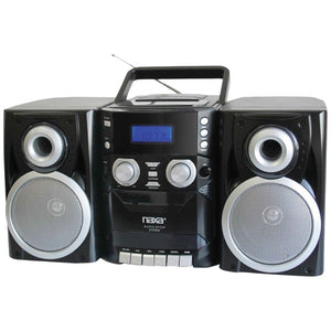 NAXA NPB426 Portable CD Player with AM/FM Radio, Cassette & Detachable Speakers