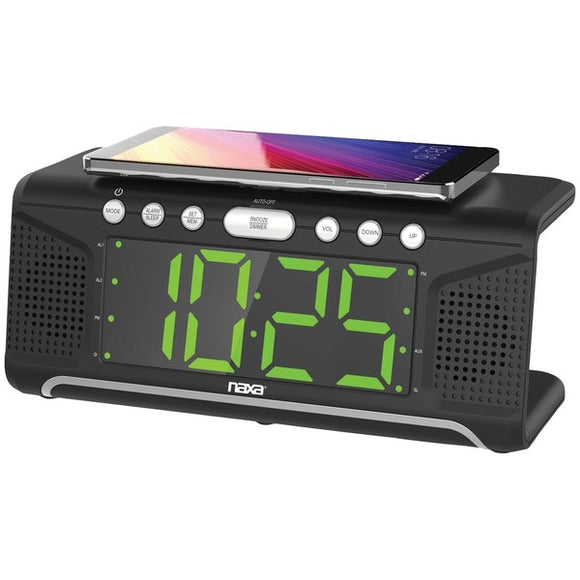 Naxa  NRC-190 Dual Alarm Clock with Qi  Wireless Charging (1.8