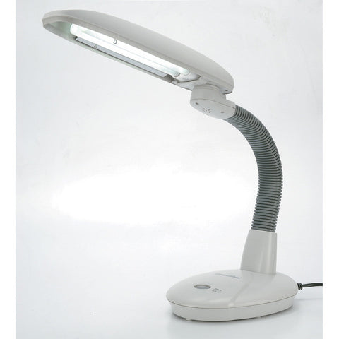 Sunpentown EasyEye Energy Saving Desk goose neck Lamp - Grey (2-tube) SL-823G