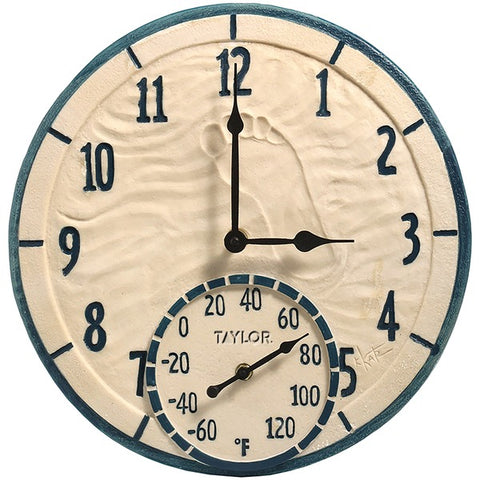 "TAYLOR 91501 14"" By the Sea Poly Resin Clock with Thermometer"