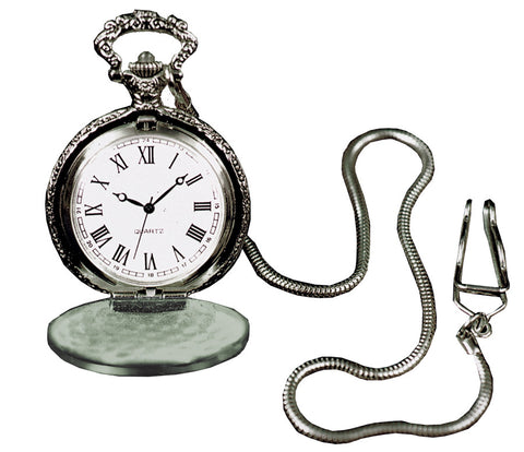 POCKET WATCH W CHAIN SILVRTONE
