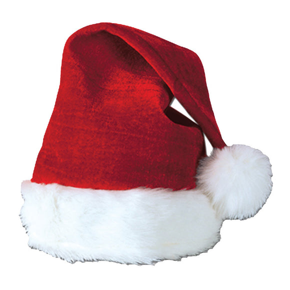 SANTA HAT VELVET PLUSH TRIM