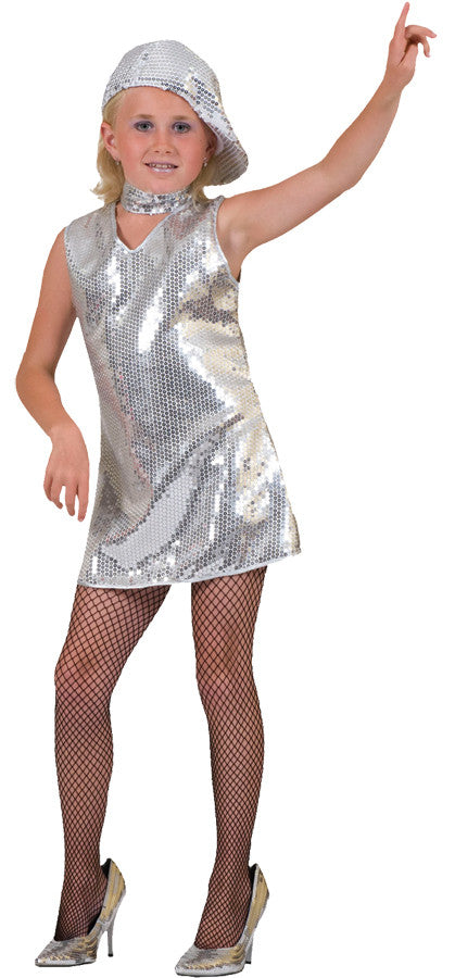 DISCO DRESS SILVER CHILD MED