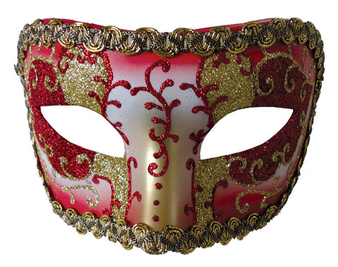 MEDIEVAL OPERA MASK RED GOLD