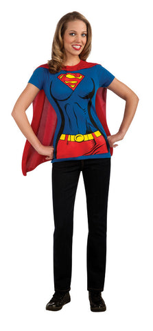 Supergirl Shirt and Cape Adult Women's Costume - Extra Large 14-16
