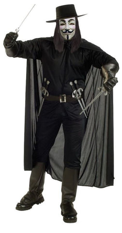 V for Vendetta Adult Men's Costume - Extra Large up to Size 46