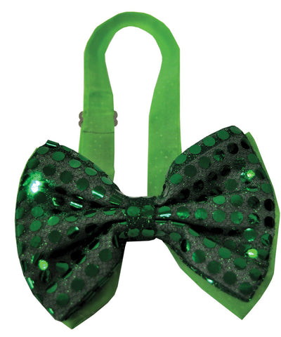 BOW TIE GREEN SEQUIN LIGHT UP