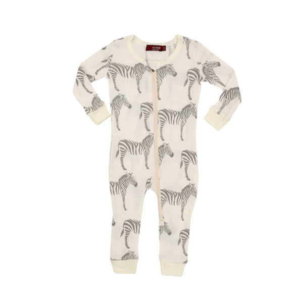 Organic Zipper Pajamas- Grey Zebra