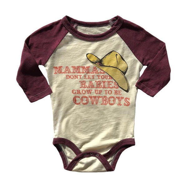 Mamma Don't Let Your Babies Grow Up To Be Cowboys Raglan Onesie