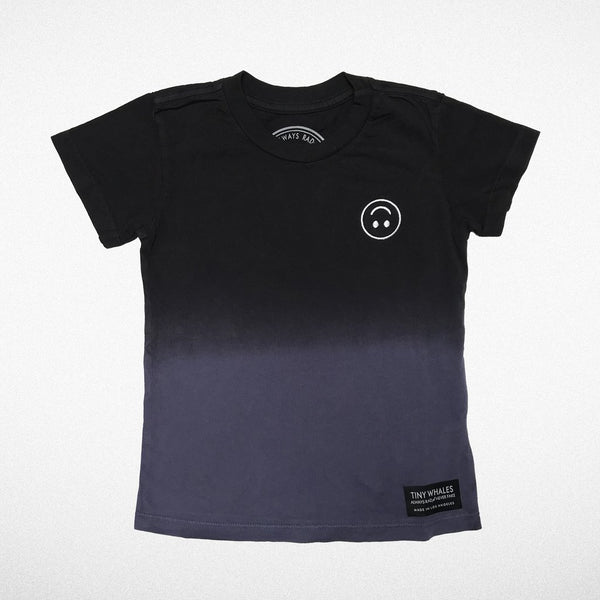Happy Embroidered Tee- Black/ Navy