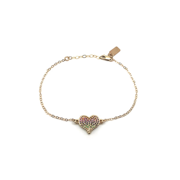 Rhinestone Rainbow Heart 14k Gold-Filled Bracelet