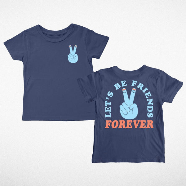 Let's Be Friends Tee- Navy