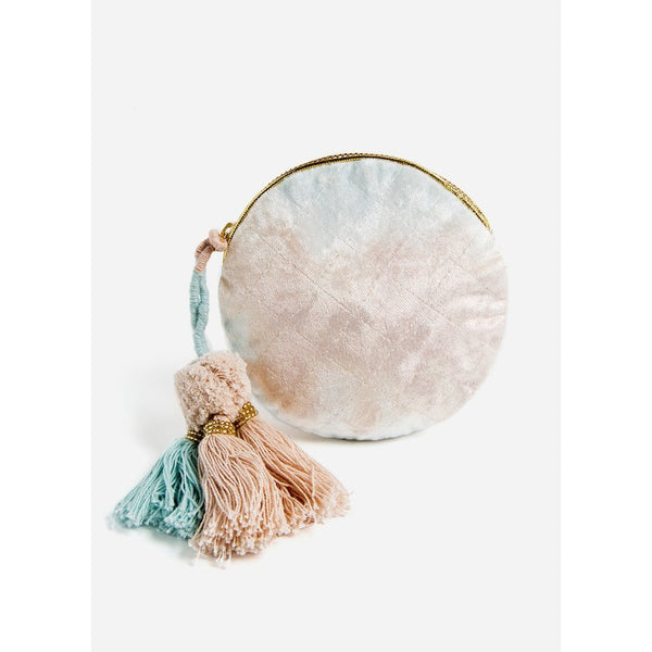 Blue And Blush Fade Round Pouch